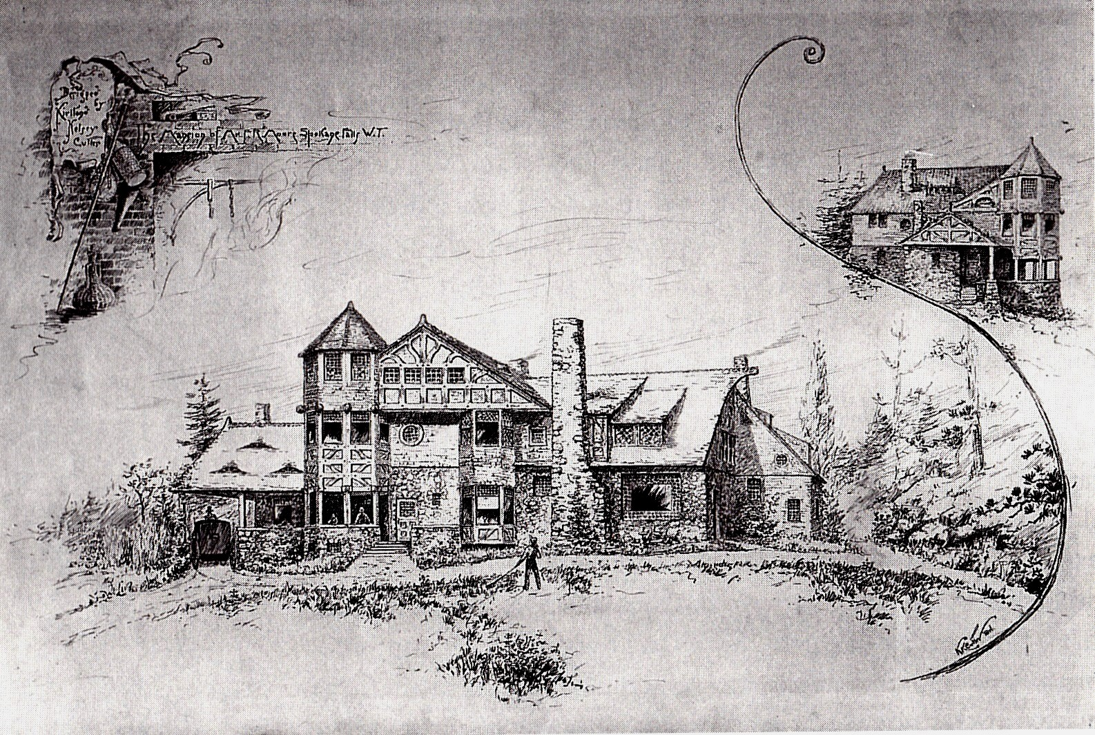 Moore home pen and ink drawing