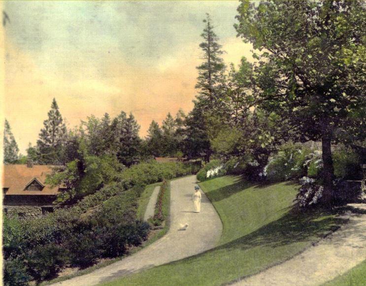 Woman on original heritage garden carriage path