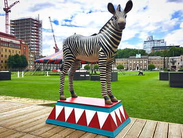 Zebra Statue Prop on Circus Plinth