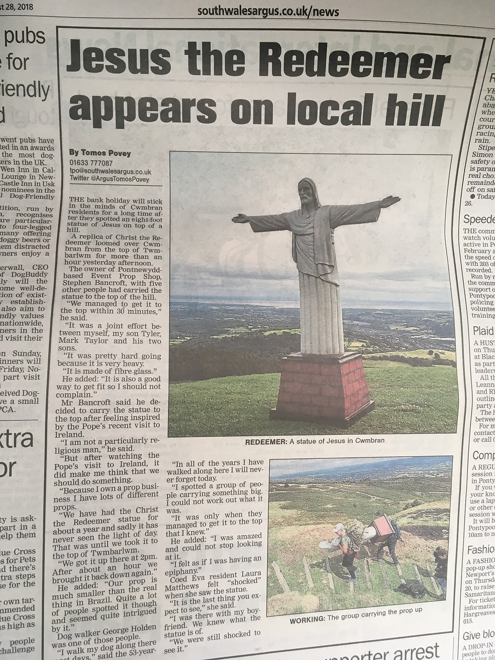 Christ the Redeemer Statue Prop Hire, Cardiff & London.