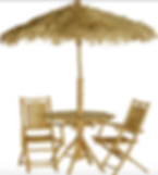 Bamboo and Banana Leaf Parasol and Chair