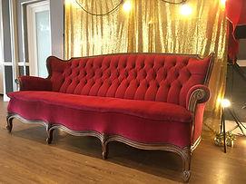 Red velvet Rococo, Louis Style Sofa Hire