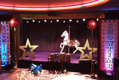 gold glitter stars, showtime circus prop