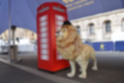full sized lion prop. telephone box prop