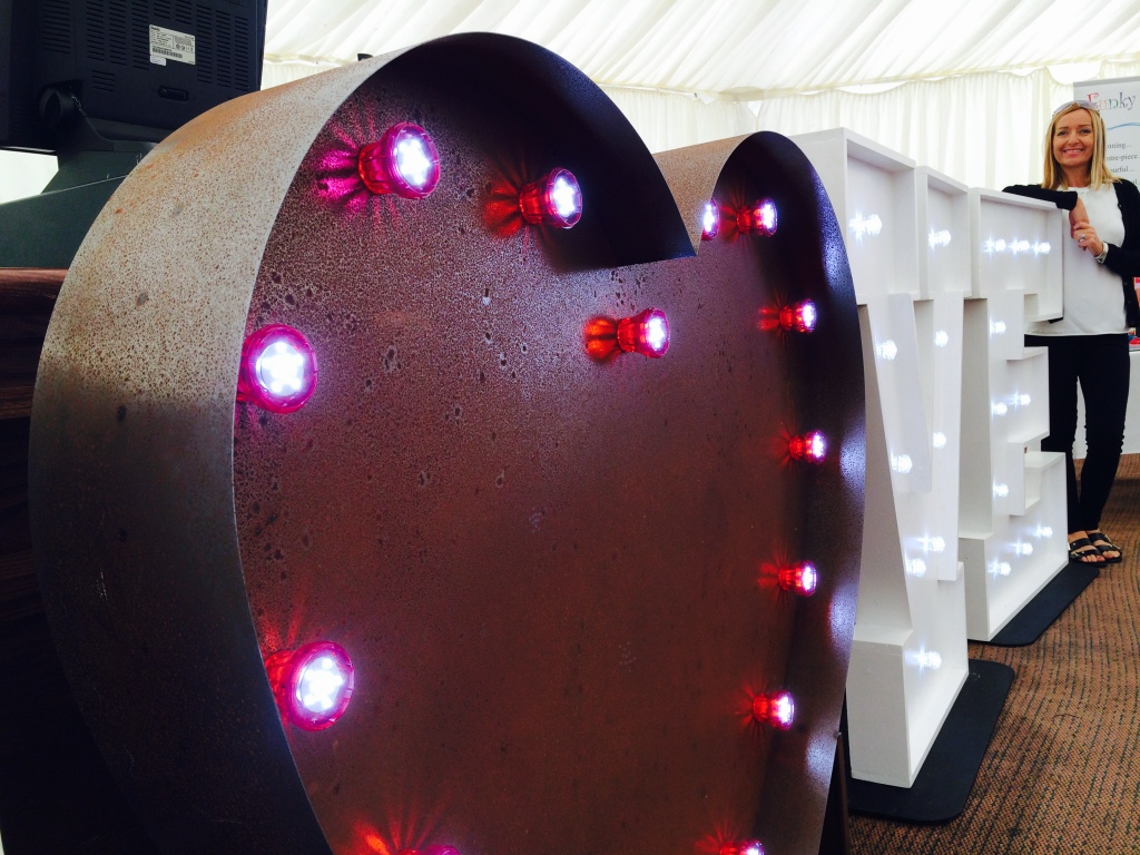 Red LED Heart with Fairground Bulbs