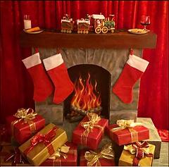 Santas Fireplace. Large 3D Prop