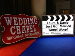 Giant Light Up Clapper Board Prop with Wedding Chapel Sign Hire