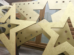 Giant Gold Glitter and Light up Stars