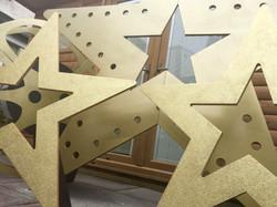 Giant Gold Glitter and Light up Stars