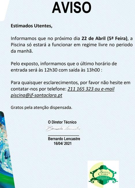 Informação à População - horário da Piscina no dia 22 de Abril (quinta-feira).