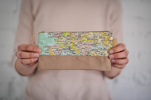 Maps Zippered Pouch