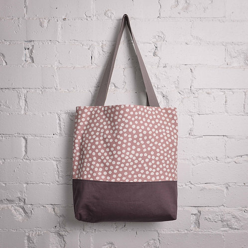 Dots Pocket Tote - Dusty Pink