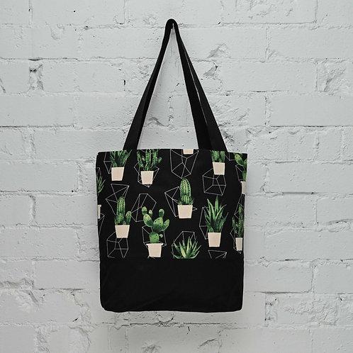 Cactus Pocket Tote - Black