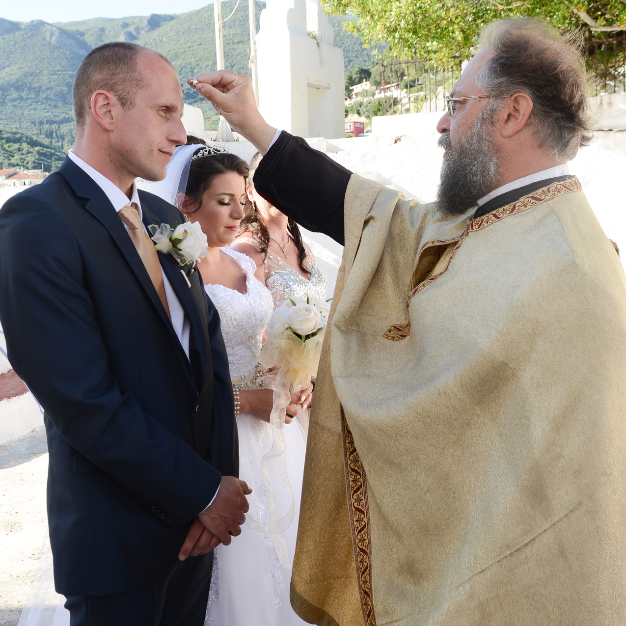 The blessing of the priest with the enga