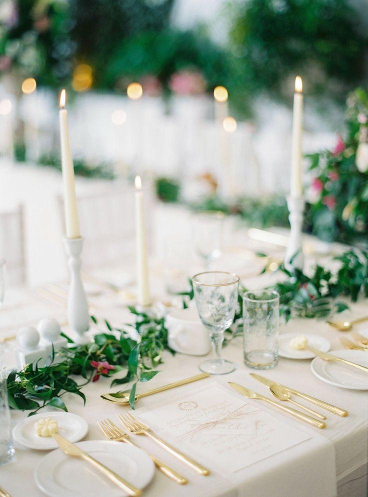 Green & White & Gold wedding