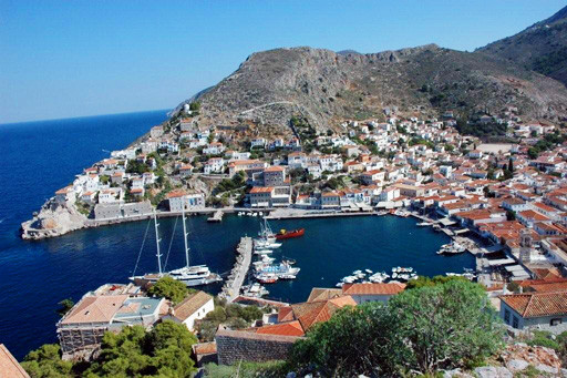 Panoramic image of Hydra island port