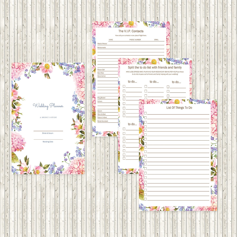 Image of 4 pages from the Destination Downloadable/Printable 100 page Floral Wedding Planner