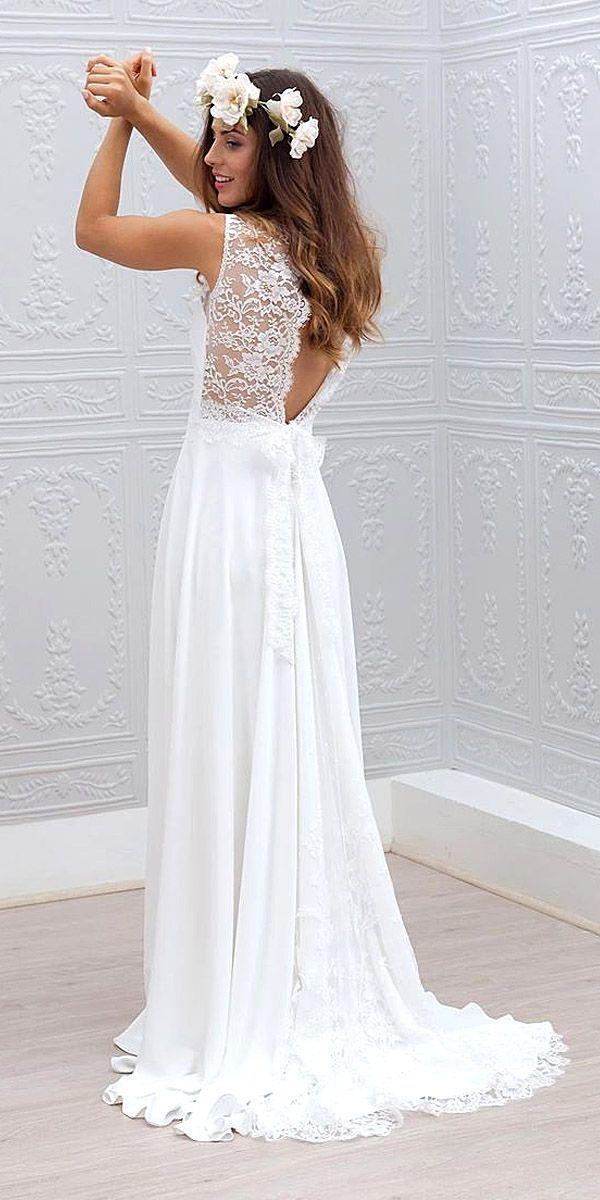 Lace Back White wedding Dress