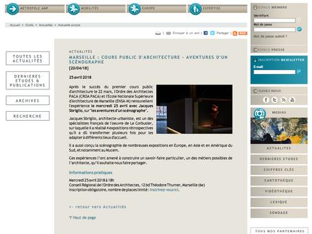 COURS PUBLIC D'ARCHITECTURE - AVENTURES D'UN SCÉNOGRAPHE