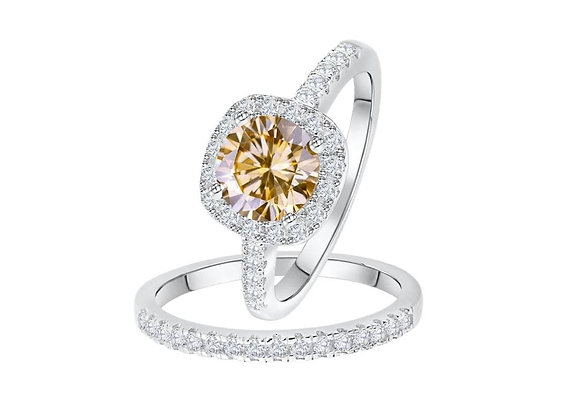 Champagne Cushion Wedding Ring Set