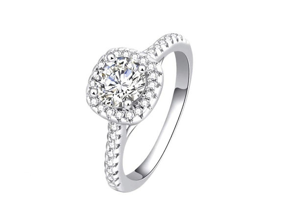 White Cushion Engagement Ring