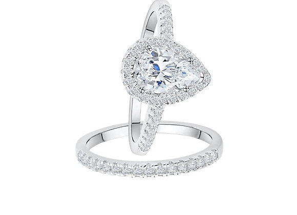 Pear-Cut Wedding Ring Set