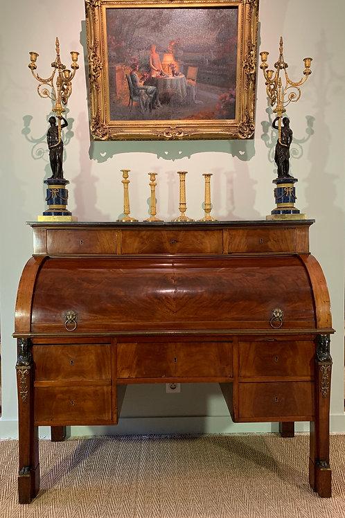 CHAPUIS : Exceptionnel bureau à cylindre estampillé, d'époque Empire.