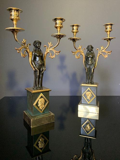 Paire de candélabres aux Empereurs, époque Empire.