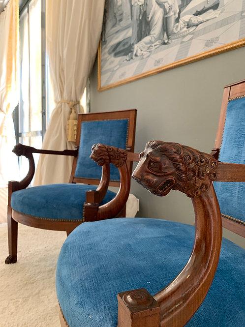 J.B.B DEMAY: Paire de fauteuils d'époque Empire-Consulat, 1800-1805.