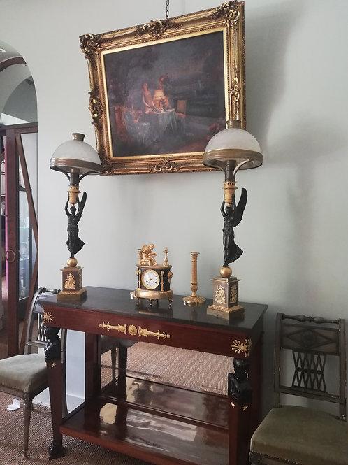 Thomire: Très rare et spectaculaire paire de lampes astrales début XIXème siècle