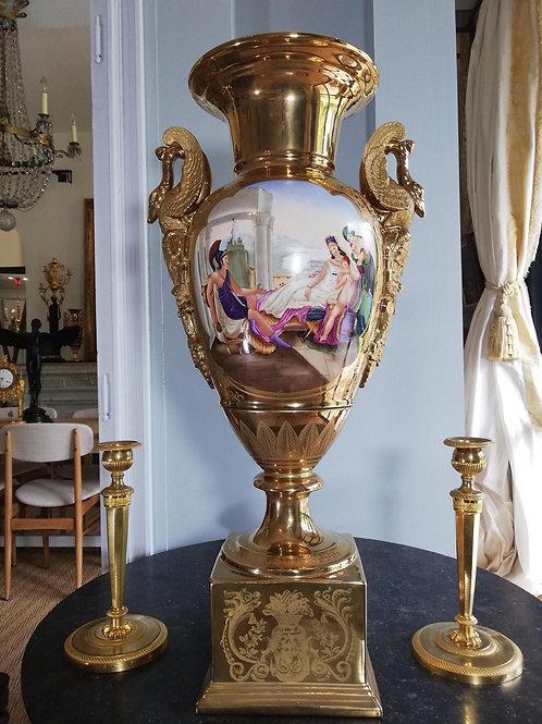 Très Grand Vase En Porcelaine à Col De Cygnes XIXe, 70cm
