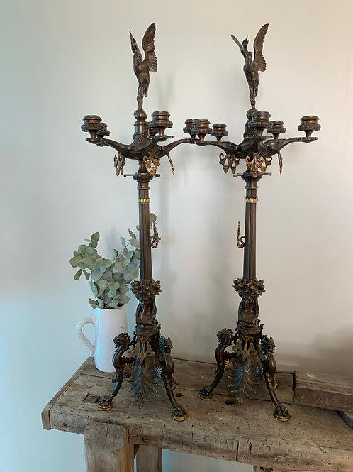 Paire De Candélabres Bronze, Auguste Cain Milieu XIXème