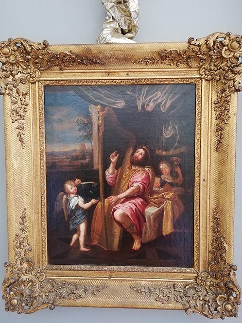 Tableau XVIIe Siècle : Le Roi David Jouant De La Harpe, d'Après Le Dominiquin