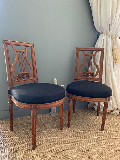 Georges JACOB /Duc d'orléans : Paire de chaises estampillées et étiquetées