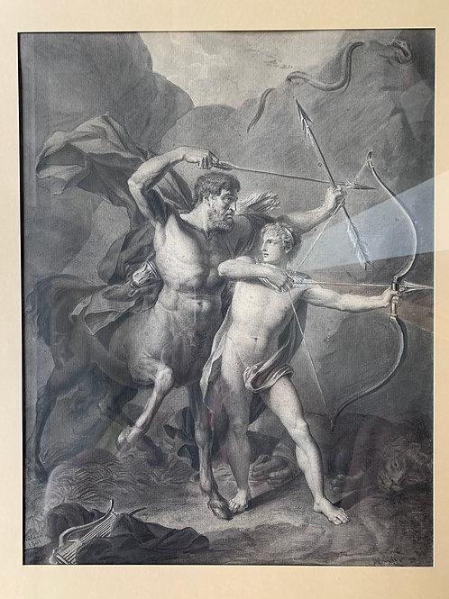 Lavis d'encre signé de 1801: L'éducation d'Achille par le centaure Chiron.