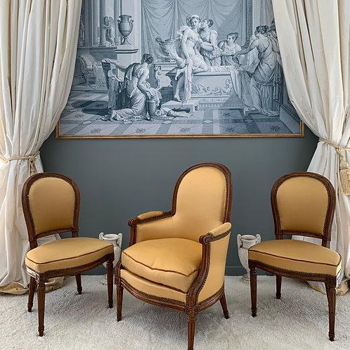 J. B. BOULARD: Ensemble de 2 chaises et une bergère estampillée J.B.Boulard, épo