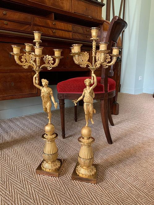 Thomire/ Choiselat: importante paire de candélabres en bronze doré, début XIXe