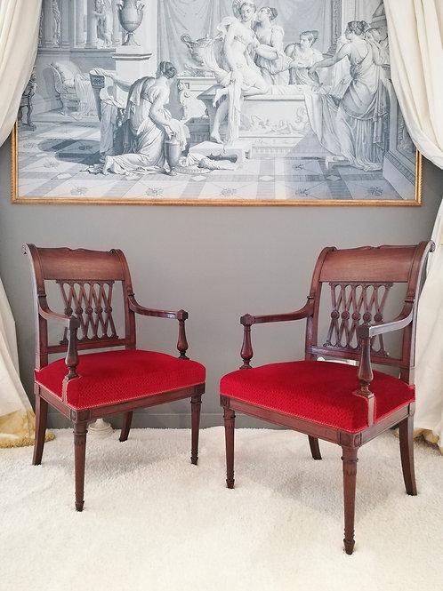 Georges JACOB/Jacob frères, paire de fauteuils à l'etrusque d'époque Directoire.