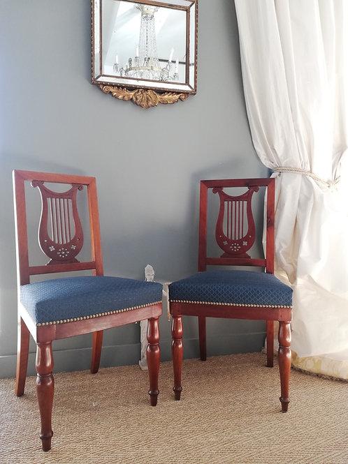 Jacob/ Compiègne: Paire de chaises à la lyre époque Empire 1806. Estampillées et