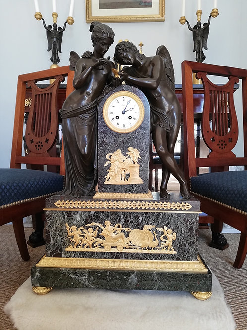 Signée Thomire, spectaculaire pendule d'époque Empire, Horloger Filon. 80cm