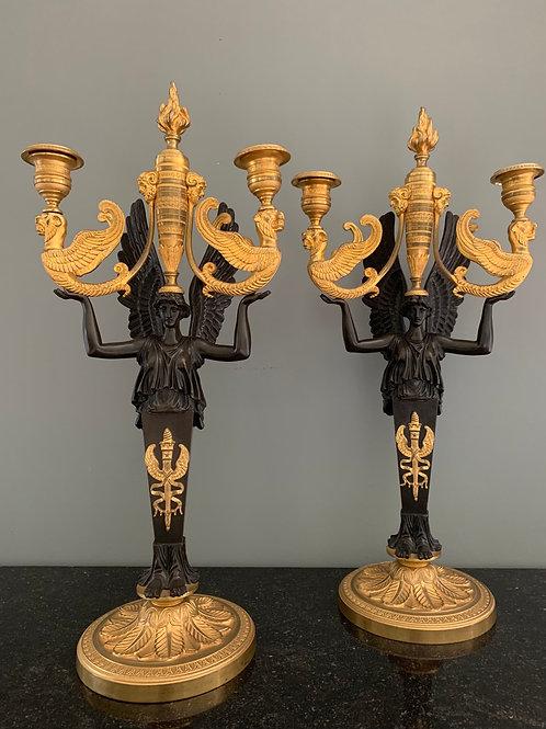 Rare paire de candélabres d'époque Empire.