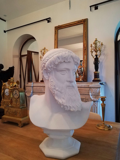 Poséidon : Important Buste En Plâtre 60cm