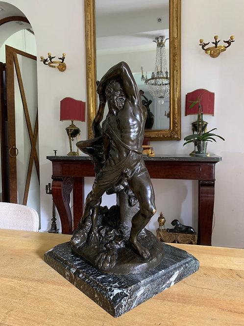 Hippolyte Moreau : Hercule jetant Lichas. Groupe en bronze 1880-1890.