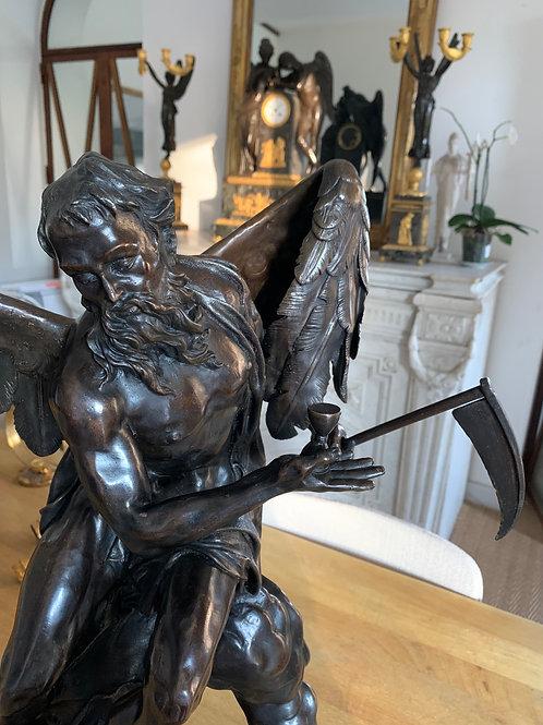Chronos : Spectaculaire Bronze d'Après  Franz Ignaz Günther (1725-1775).XIXe.