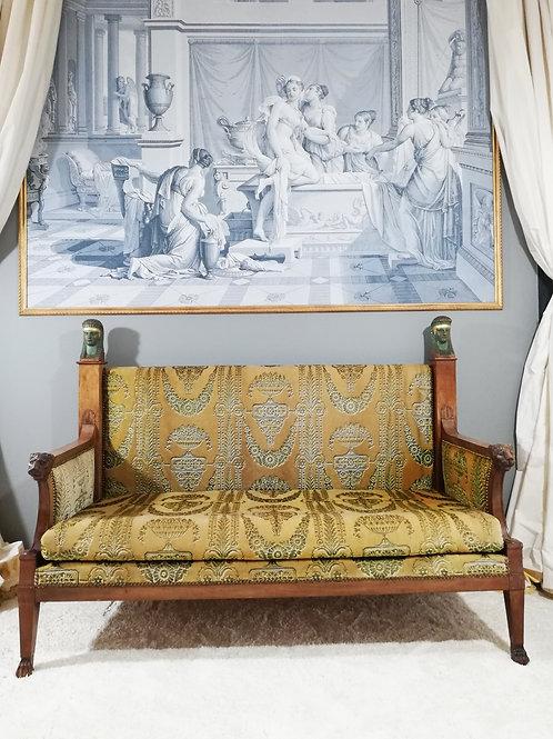 Demay JBB : Canapé d'époque Empire-Consulat , retour d'Égypte 1800