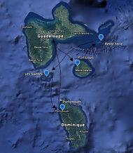 Parcours de la croisière Guadeloupe - Dominique avec Skipper Jules