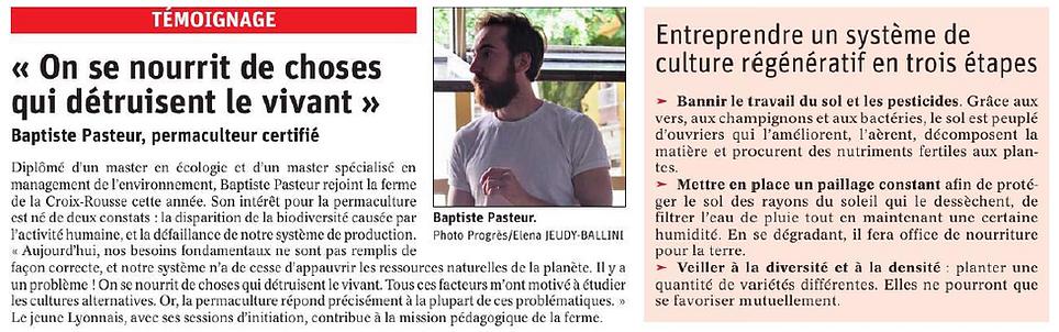 Article Le Progrès Lyon sur la formation Permaculture de Baptiste Pasteur à la ferme de la Croix-rousse Lyon