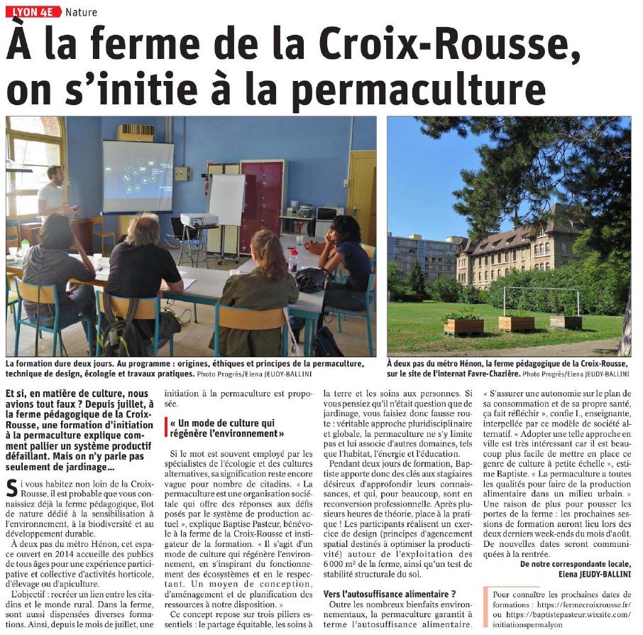 Article formation permaculture Baptiste Pasteur