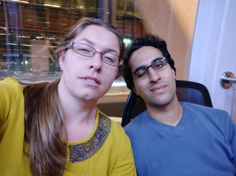 Exhausted travellers Elizabeth and Vientiene Taeed