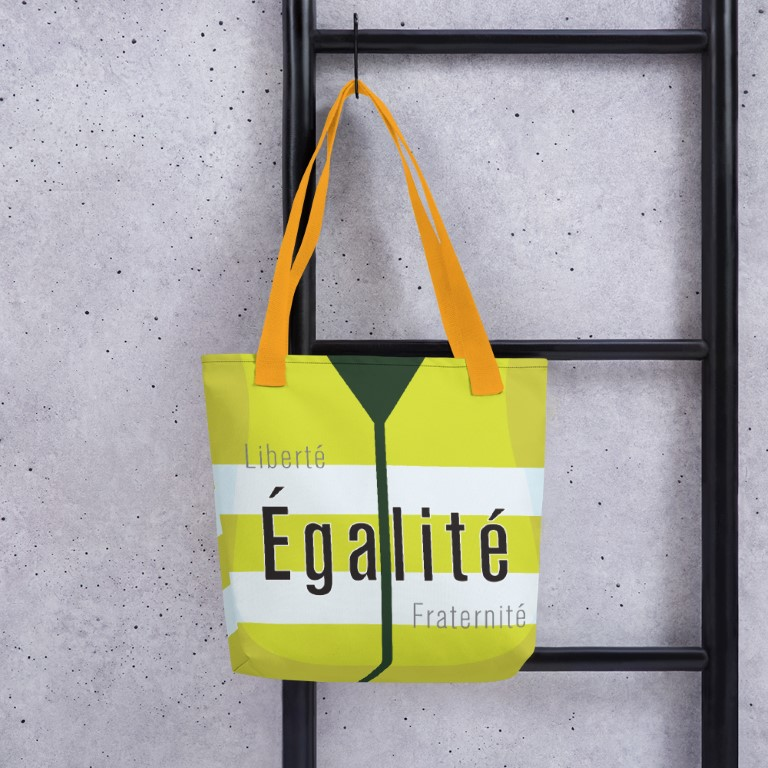 With straps in yellow, red or black, these totes make even grocery shopping a protest movement. A produce protest?